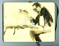 Marcel Duchamp. Das klassische Foto in Wasserfarben gearbeitet