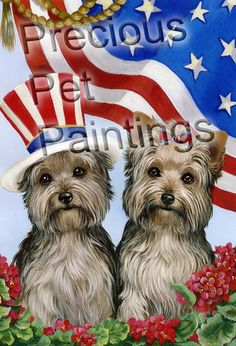 Yorkshire Terrier USA garden flag, Yorkshire Terrier USA flag, Yorkie USA garden flag, Yorkie USA flag, – Precious Pet Paintings