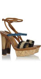 Braided raffia and leather platform sandals  $910