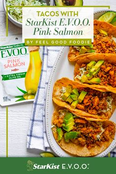 Start with StarKist E.V.O.O. Wild-Caught Pink Salmon, add blackened seasoning to your favorite taco toppings, and you've got a dinner that's spiced to perfection and ready in under 10 minutes. Thanks for the recipe, Feel Good Foodie! Mexican Food Recipes, Vegan Recipes, Cooking Recipes, Ethnic Recipes, Tostadas, Tacos, Healthy Foods, Healthy Eating, Blackened Seasoning
