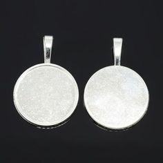 5pcs Silver Alloy Pendant Cabochon Bezel Settings Flat Round Tray Jewelry Making