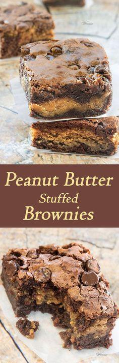 The most delicious treat - Peanut Butter Stuffed Brownies. . http://www.winnish.net/2015/07/7210/:
