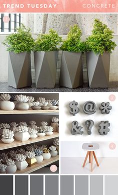 Concrete or cement is a material that you can find in almost every household. This material is a very common material and has many uses, other than as the main material for building purposes, concrete can also be used to make decoration or decoration. Concrete Furniture, Concrete Design, Concrete Planters, Wall Planters, Concrete Garden, Succulent Planters, Succulents Garden, Cement Art, Concrete Crafts