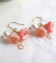 Romantic Peach Pink Czech Glass Flowers White Pearl Linked Hearts Bridal Wedding Floral Jewelry. Dangle Drop Earrings Everyday Wear  https://www.etsy.com/listing/162051944/romantic-peach-pink-czech-glass-flowers?ref=shop_home_active_9