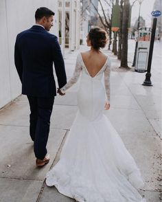 David's Bridal bride Breanna in a long sleeve lace trumpet Truly Zac Posen wedding dress from David's Bridal | Photo by The Mango Market