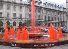 """True Blood Fountain in Romania 2011. """"The fourth season of True Blood just started up in Bucarest on October 7th, and as part of the viral campaign surrounding the premiere, they turned the water in this fountain blood red."""" #HBO"""