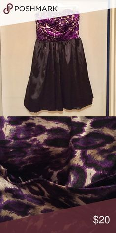 Black & Purple Strapless Dress Purple leopard print on the top. Light tooling at the bottom. Zipper on back. Charlotte Russe Dresses Strapless