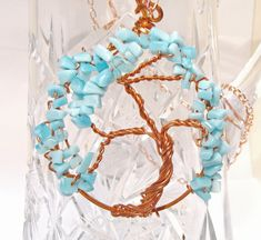 Tree of Life Necklace with Copper Wire Pendant and Wire Wrapped Aqua Glass Chip Beads