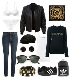 """""""Not FAB just me 02"""" by dtlpinn ❤ liked on Polyvore featuring Yves Saint Laurent, adidas, Vince, Balmain, Rebecca Minkoff, Melissa Joy Manning, Ray-Ban, adidas Originals, Brixton and Gilda & Pearl"""