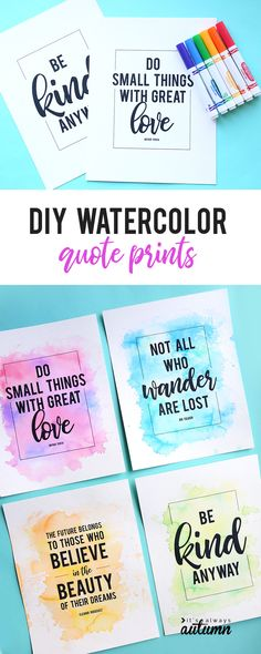 These pretty DIY watercolor prints are made with markers, not paint! So easy anyone can do it.