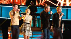 "Blake joins Barrett Baber, Emily Ann Roberts and Zach Seabaugh for a performance of Bill Withers' ""Lean on Me."""