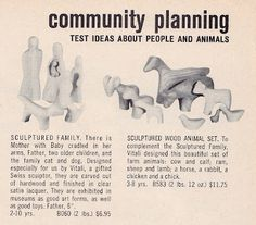 Catalog page showcasing Sculptured Family and Sculptured Animal sets from the Playforms range of toys, United States, 1955-56, by Antonio Vitali for Creative Playthings.