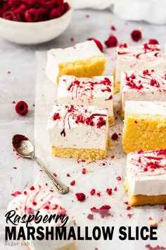 A coconut biscuit base and raspberry-swirled, fluffy homemade marshmallow are all you need for this gorgeous Homemade Raspberry Marshmallow Slice. Everyone will love this both crunchy and soft, melt in the mouth treat. Fun Baking Recipes, Sweet Recipes, Dessert Recipes, Fudge Recipes, Candy Recipes, Appetiser Recipes, Quick Dessert, Desserts, Coconut Biscuits
