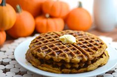 Vegan pumpkin waffles- smell so good! :D. Substituted melted butter for coconut oil, didn't add flaxseeds, and us ap flour.