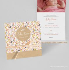 Triptych birth or baptism, flowery panache, Liberty type and kraft imitation texture, peach satin ribbon - Lily-Rose model Satin Rose, Pink Satin, Faire Part Liberty, Rose Lily, Colored Envelopes, Album Design, Birth, Ribbon, Band