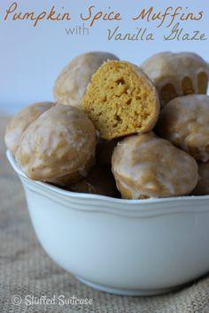 Mini Pumpkin Spice Muffins with Vanilla Glaze - perfect fall recipe treat for dessert or breakfast StuffedSuitcase.com
