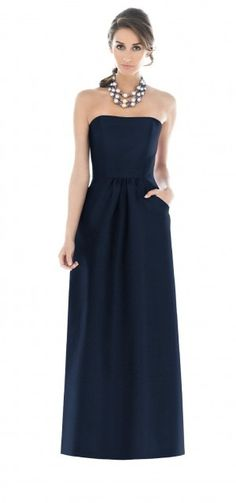 Alfred Sung Strapless full length dress with pockets at skirt front, in navy