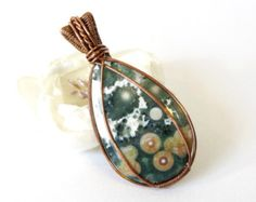 Copper Wire Wrapped Pendant, Ocean Jasper Wire Weave Pendant, Handmade Necklace with Natural Semi-Precious Stone, Wire Wrap Stone