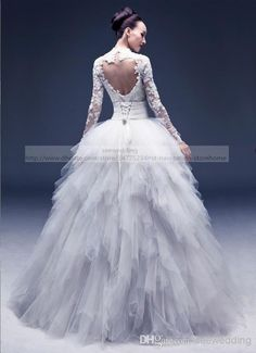 Wholesale Multi-way Detachable Wedding Dresses Lace Appliques High Collar Cut Out Open Back Long Sleeve Wedding Gowns with Removable Ruffled Skirt, Free shipping, $188.49/Piece | DHgate Mobile