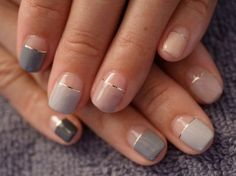 keeping it classy with colorblock and gold line detail : #olivenailart