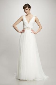 Clara - #890312 - Sleeveless deep illusion v-neck gathered spanish tulle gown with jeweled belt and shoulder brooch