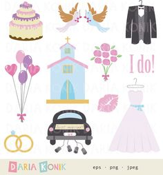 Wedding Clip Art Set with dress, suit, church, doves and rings by dariakonik, €2.50