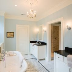 Treadlands Residence - traditional - bathroom - white cabinets, black absolute honed granite, SW tradewind #6218 paint