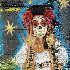 """Discovered by Andrew Lucchesi, """"Amazing #Niz sugar skull #stencil on East 5th. """" at Yellow Jacket Social Club, Austin, Texas"""