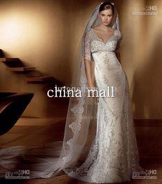 Wholesale 2012 Lace Vintage Wedding Dresses Gorgeous Long Sleeves V-Neck Sheath Bambu Bridal Gown Sweep Train