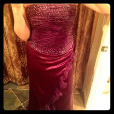 Strapless Long Plum Color Dress Reposh ...it is gorgeous but didn't fit:( It says size 8 but it didn't even zip up so more like a 6. Worn once by previous Posher but looks great. No dry cleaning, Only spot clean due to such delicate and beautiful bead detail on bodice. Dresses
