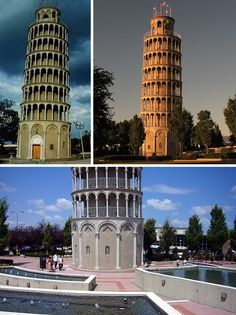The Leaning Tower of Niles, Illinois, USA.   The Leaning Tower Of Niles actually does exist, and has done so since 1934. A half-sized twin to the mother of all leaning towers in Pisa, Italy, the Illinois tribute stands 94 ft tall and leans outward 7 ft, 4 inches. You can't enter this tower, however, as the exterior is just a facade built to disguise what is essentially just a water tower.