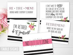 This black and white and floral Retirement Party Pack will make party planning easy! Purchase just the retirement party invitation, just the party decor package, or both. The party decor package contains a printable Bucket List sign so guests can leave the retiree ideas for her retirement bucket list, as well as 5 table topper signs with funny retirement sayings. Use the signs to decorate food tables, guest tables, on the walls, in frames, etc! To get ideas and see how I styled these items…