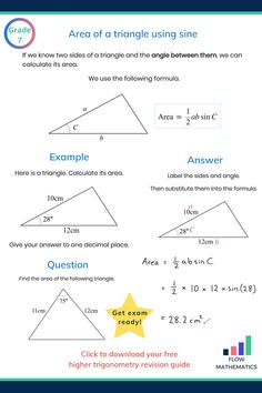 Finding the area of a triangle using the sine formula summary. Add to your board to help revise it. Gcse Math, Math 2, Math Fractions, Math Games, Finding Area, Maths Exam, Framed Words, Math Graphic Organizers, Kids Homework