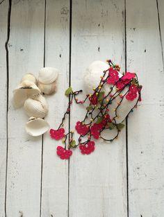 Colores con cuentas collar Crochet collar de Oya abrigo