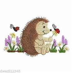 HEDGEHOG & LADYBUGS - 2 EMBROIDERED HAND TOWELS by Susan