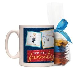 We Are Family Mug, White, with Ghirardelli Minis, 11 oz, Blue