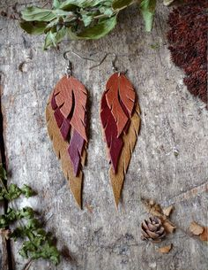 Recycled Leather Feather Earrings In Tan, Burnt Umber and Olive by Hammerthreads on Etsy