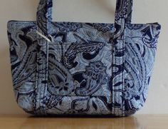Navy White Toile Paisley Print Quilted Purse by RoxannasBags on Etsy