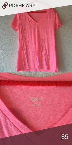 Women's Hot Pink Mossimo Supply V-Neck Tee Size Large Mossimo Supply Co Tops Tees - Short Sleeve