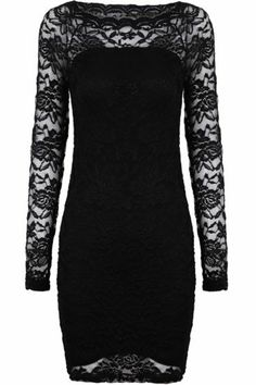 Black Contrast Lace Embroidered Dress