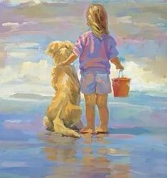 painted screen of this but declan and quinn / Golden Girls Canvas Giclee Lucelle Raad Signed Girl Toddler Dogs Valentines Day Art Plage, Art Gallery, Golden Girls, Inspiration Art, Wow Art, Beach Art, Dog Beach, Art And Illustration, Painting & Drawing