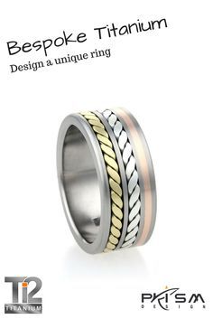 We love to create one off pieces of #jewellery, completely unique and personal to each customer. This is a spin off for our tyre track #titanium #rings inlayed with 18ct yellow gold, 9ct rose gold and silver. #madeinuk  www/ti2titanium.com