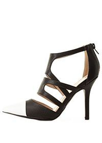 Strappy Cap-Toe Pointed Pumps