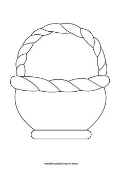 Coloring Pages - Easter - Basket Cutting Activities, Easter Activities, Easter Crafts For Kids, Preschool Crafts, Preschool Kindergarten, Fall Arts And Crafts, Diy And Crafts, Paper Crafts, Easter Basket Template