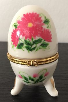 Egg Shaped Footed Porcelain Hinged Red Floral TRINKET BOX ring box