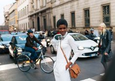 Amilna Estevão with Beats by Dre headphones. Milan Fashion Week Feb 2016