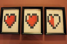 Zelda/8 Bit Heart Triple Wall Decor. $9.99, via Etsy.