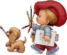 enfant peintre avec son chien 35