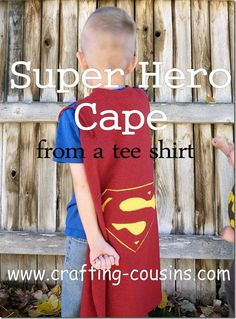 DIY Superhero or Superman Capes - This was a super easy cape to make. I left the neck hole attached. Instead of tying it on they just slip it over their heads. So much fun!