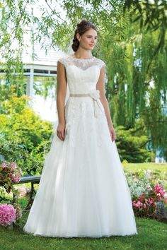Sweetheart Gowns sweetheart style 6097 Alencon lace and tulle ball gown highlighted with a sabrina neckline. Wedding Dress Sash, 2015 Wedding Dresses, Cheap Wedding Dress, Wedding Dress Styles, Bridal Dresses, Wedding Gowns, Tulle Wedding, Spring Wedding, Tulle Ball Gown